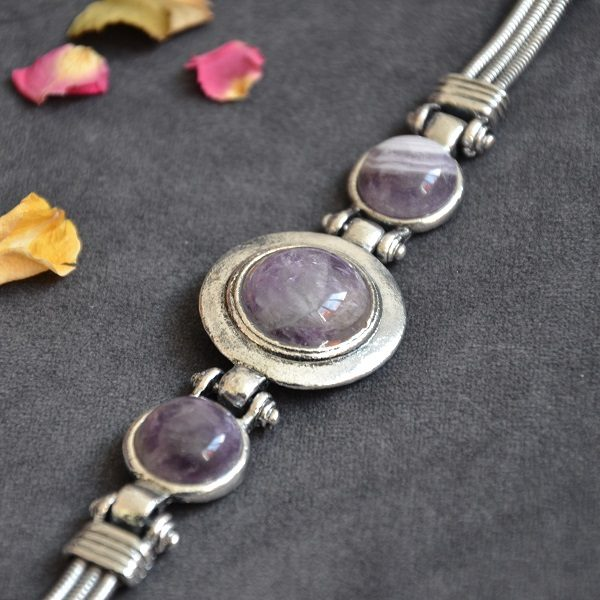 1015-1 Mooie design paarse armband met hoge kwaliteit stalen band