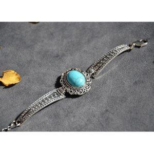 Hippe turquoise armband met hoge kwaliteit stalen omkapseling