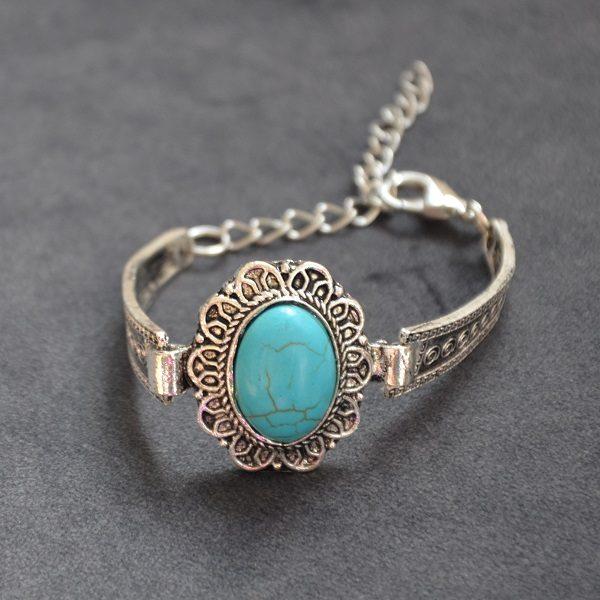 1016 Hippe turquoise armband met hoge kwaliteit stalen omkapseling