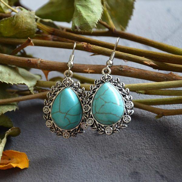 2004-1 Turquoise steen druppelvormige oorhangers met oud uitziend staale omkapseling