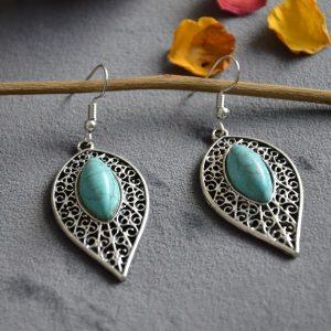 """Ovalen """"blad"""" vormige grote turquoise oorbellen"""