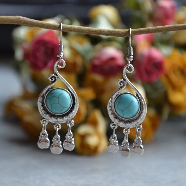 2008-2 Luxe oorbellen met turquoise steen