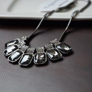 Antraciet grijze kristallen ketting met hoge kwaliteit stalen ketting
