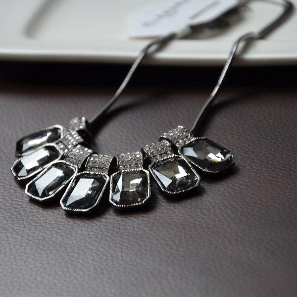 3001 – Antraciet grijze kristallen ketting met hoge kwaliteit stalen ketting