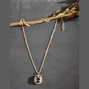 Goudkleurige uitjes ketting met kristal en glimmertjes